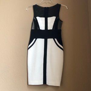 White and black bodycon dress